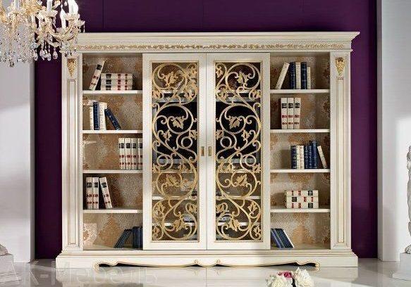 Крашенный шкаф МДФ для книг. Резные двери, декоративные элементы