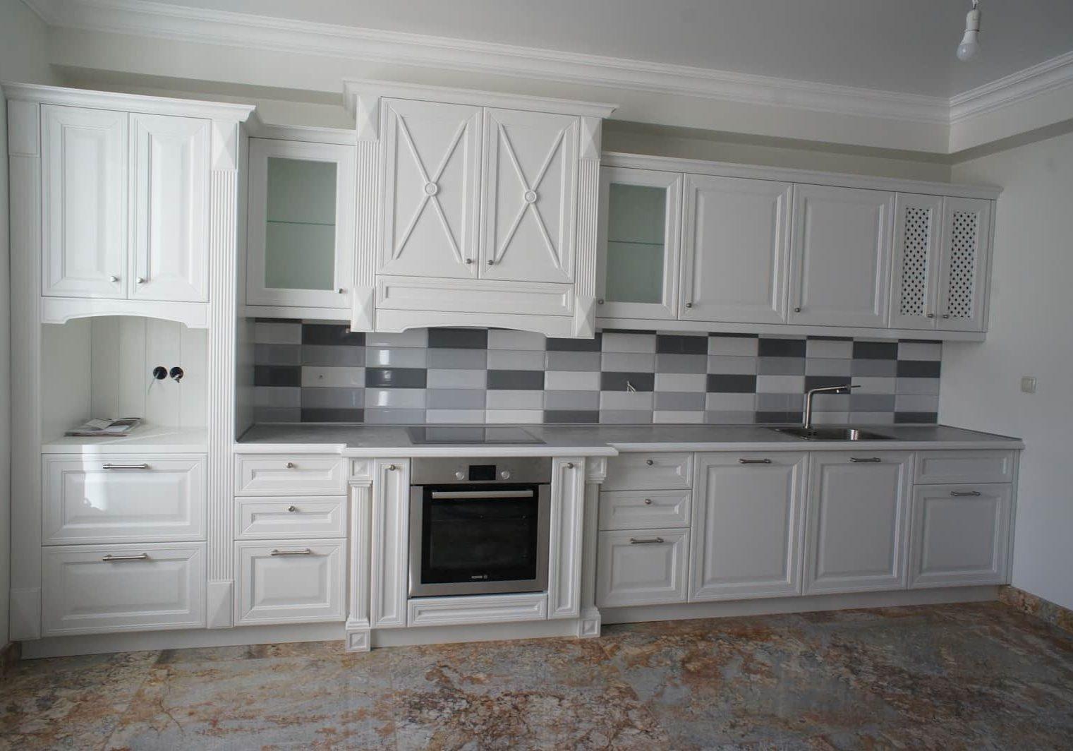 Крашенная белая кухня МДФ эмаль под заказ