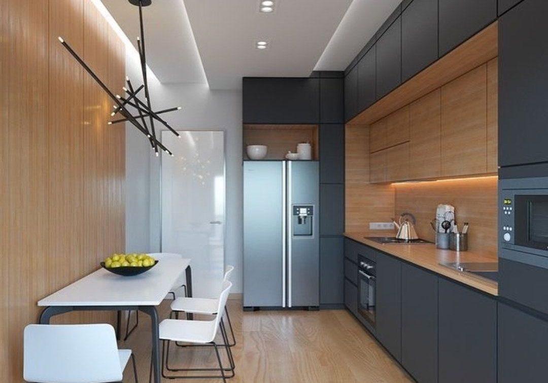 Крашенная кухня с фасадами эмаль и натуральный шпон