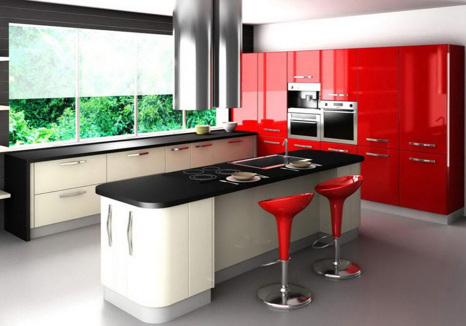 Красная кухня с островом