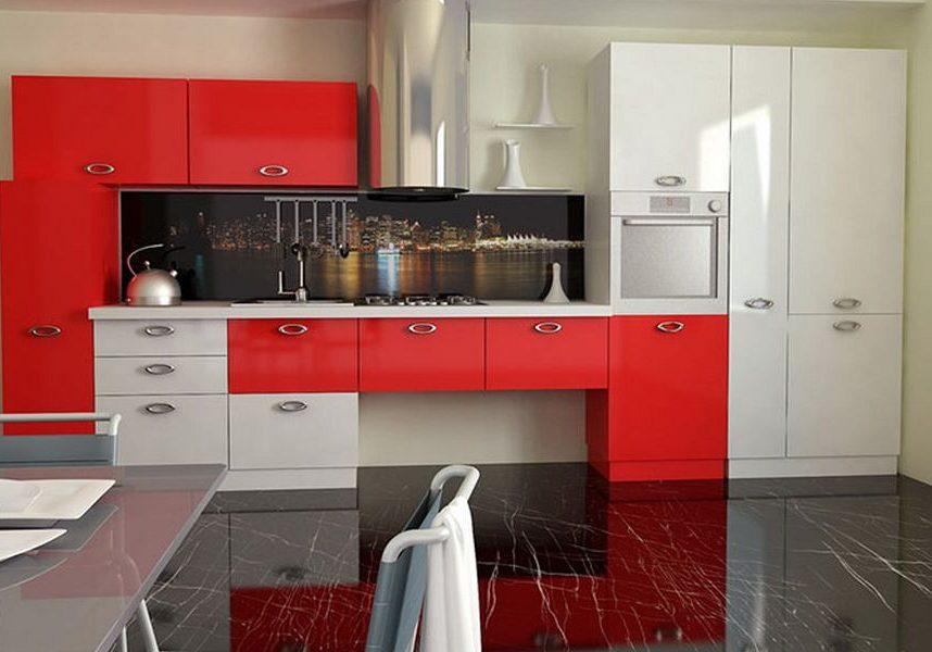 Красно-белая кухня, прямая хай тек
