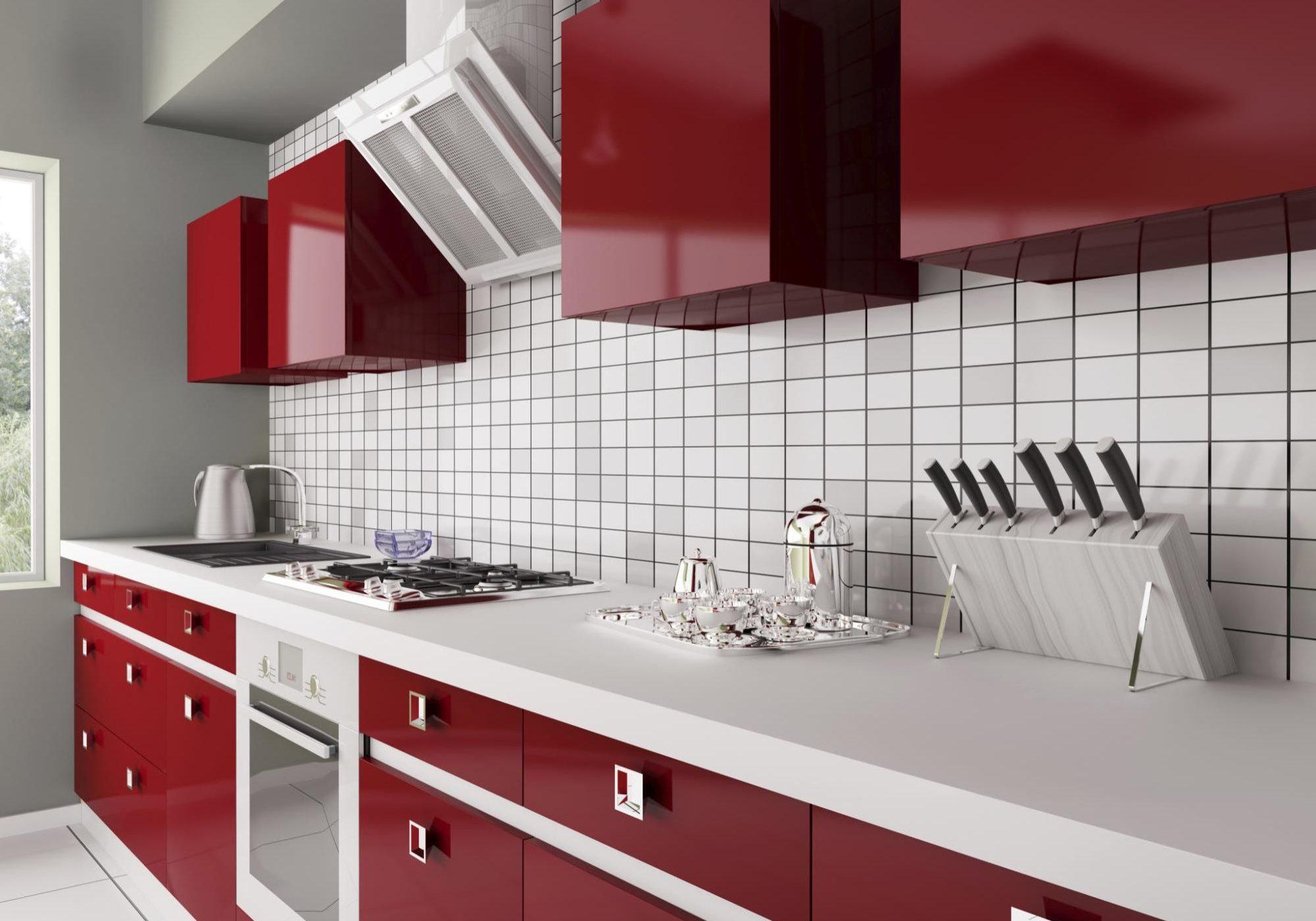 Красно-белая прямая кухня, бардо