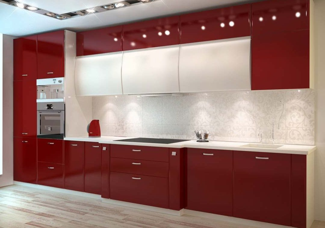 Красно-белая прямая кухня глянец