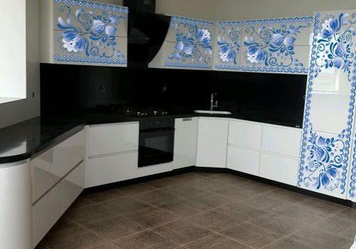 Кухня Гжель, МДФ эмаль белый с синим глянец