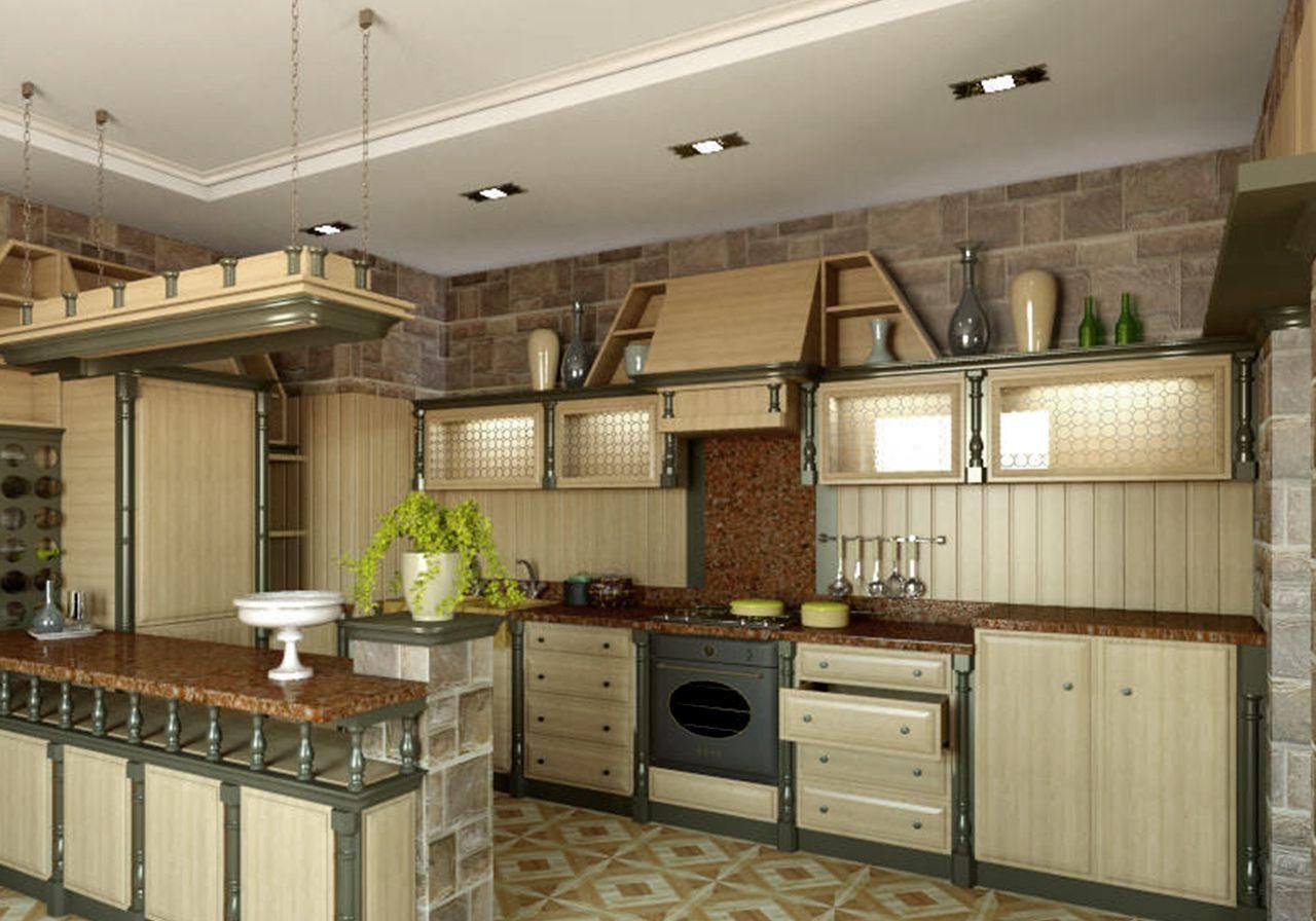 Кухня из дерева, стиль кантри