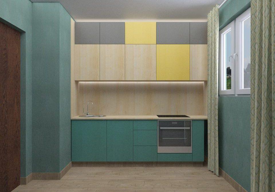 Кухня из фанеры с разноцветными крашенными фасадами