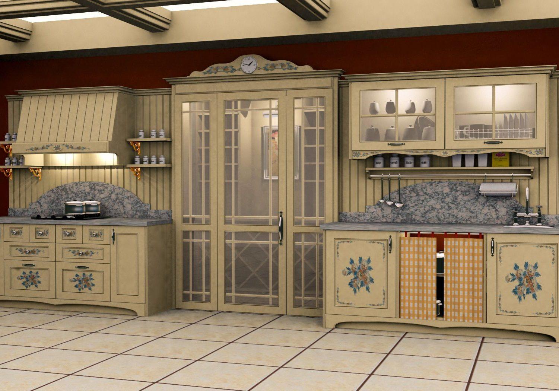 Кухня прованс с рисунком на фасадах массив ясень