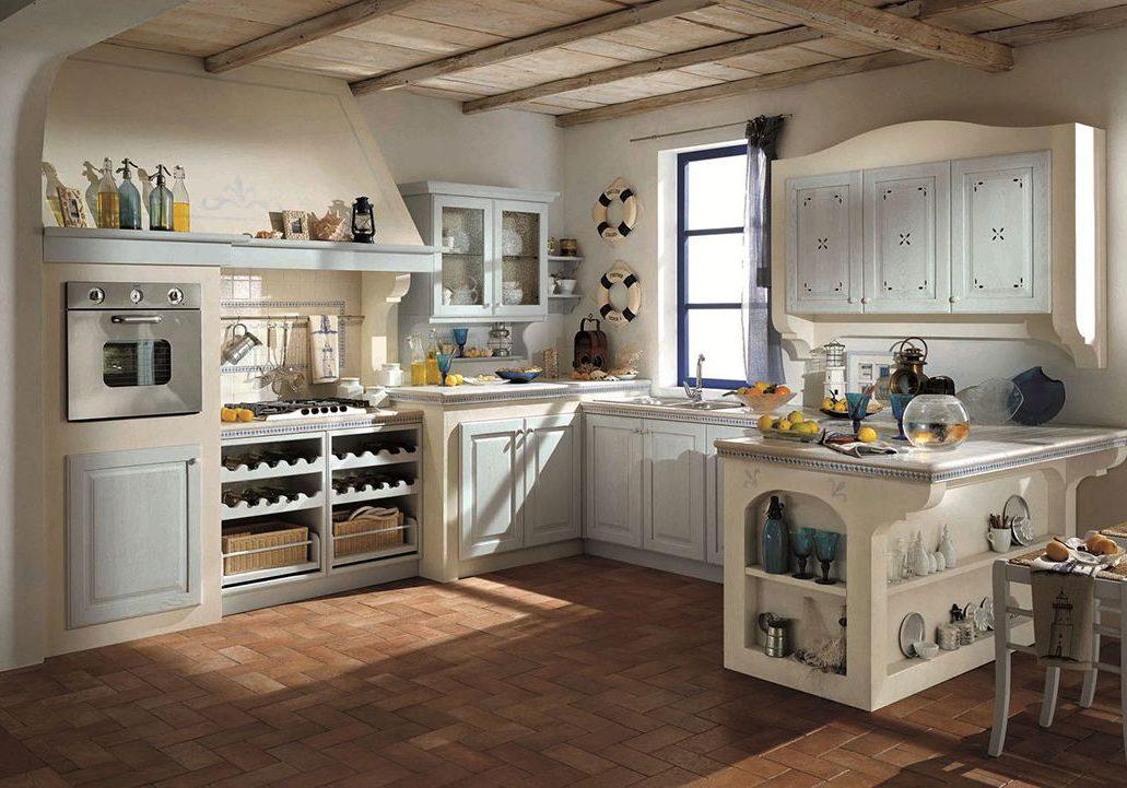 Кухня прованс с большой вытяжкой