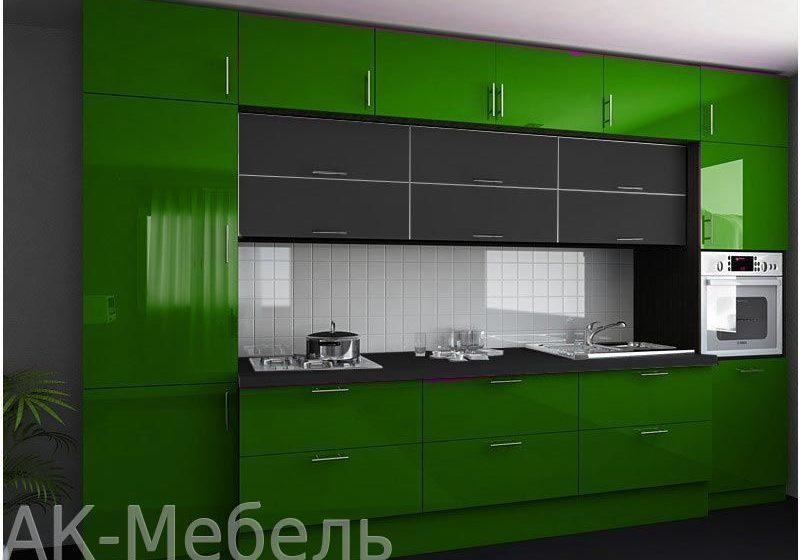 Зеленая кухня,с глянцевыми фасадами