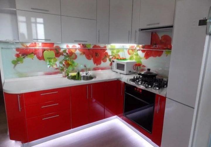 Маленькая угловая красно белая кухня глянец
