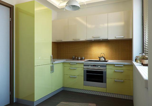 Маленькая угловая кухня бежево-зеленого цвета МДФ эмаль