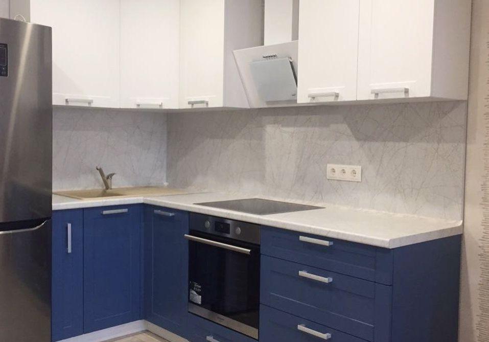 Маленькая угловая сине-белая кухня модерн