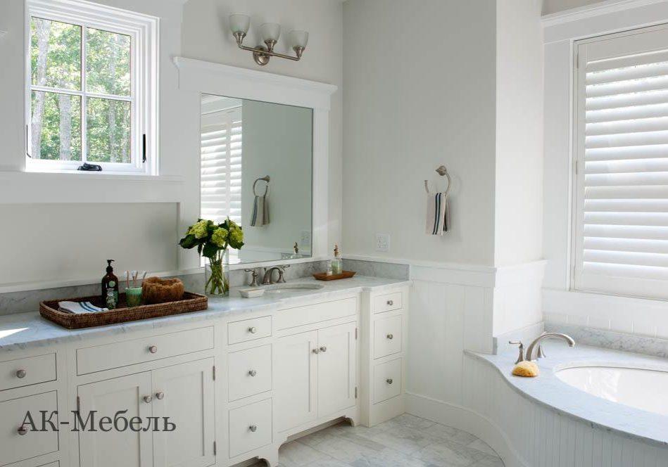 Мебель из крашенного МДФ эмаль на заказ для ванной