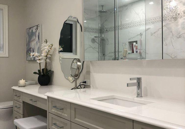 Мебель из крашенного МДФ на заказ для ванной