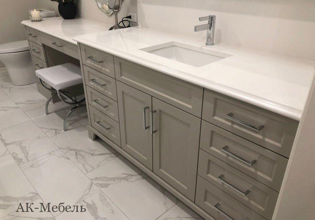 Мебель из крашенного МДФ под заказ для ванной