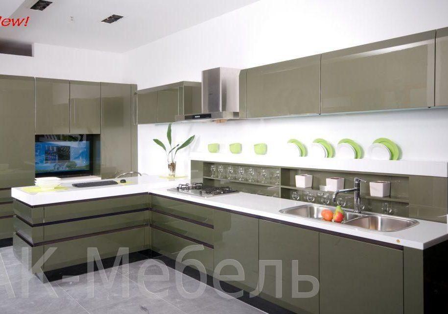 Глянцевая кухня, цвет мокрый асфальт
