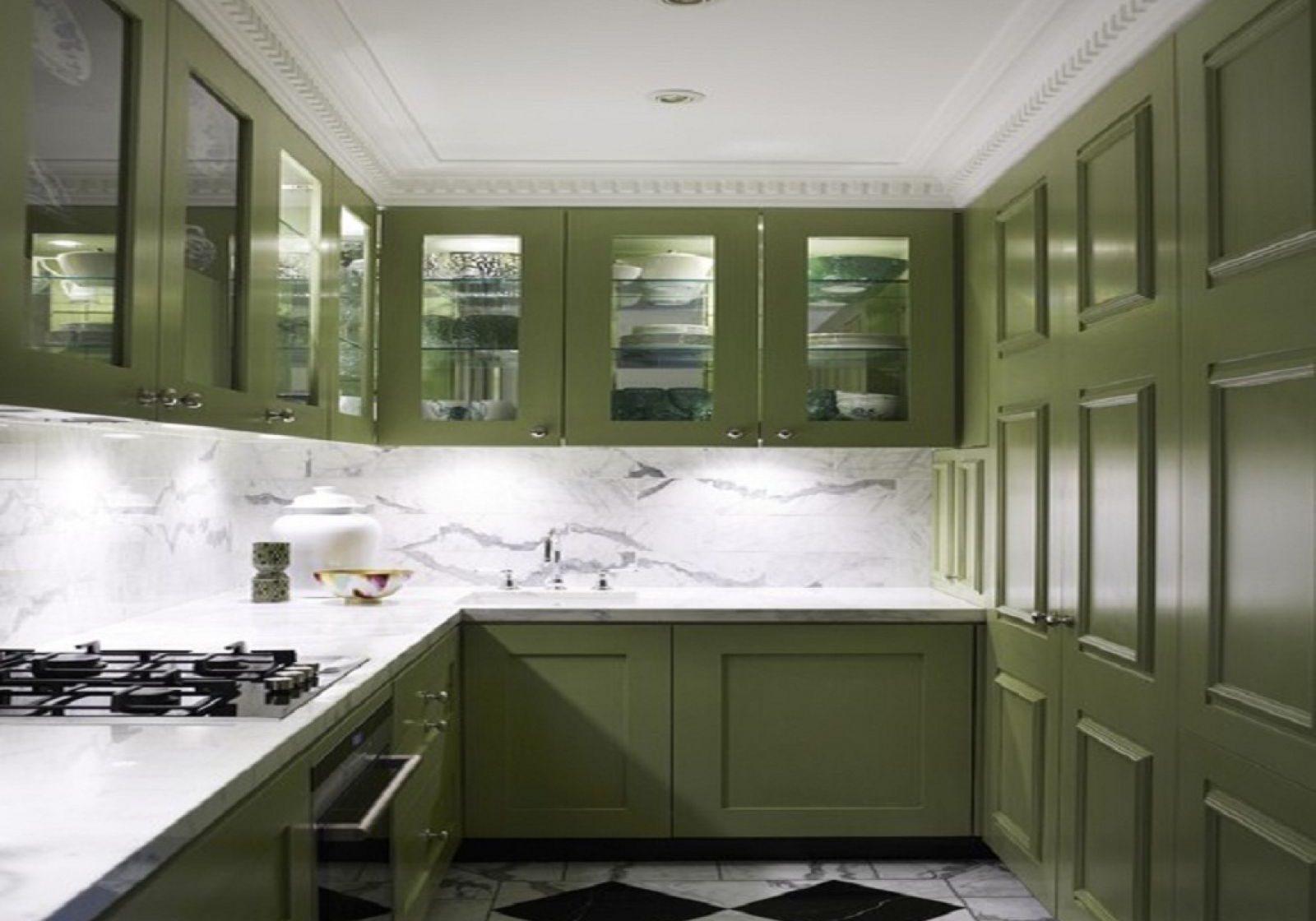 Оливковый оттенок зеленой кухни модерн