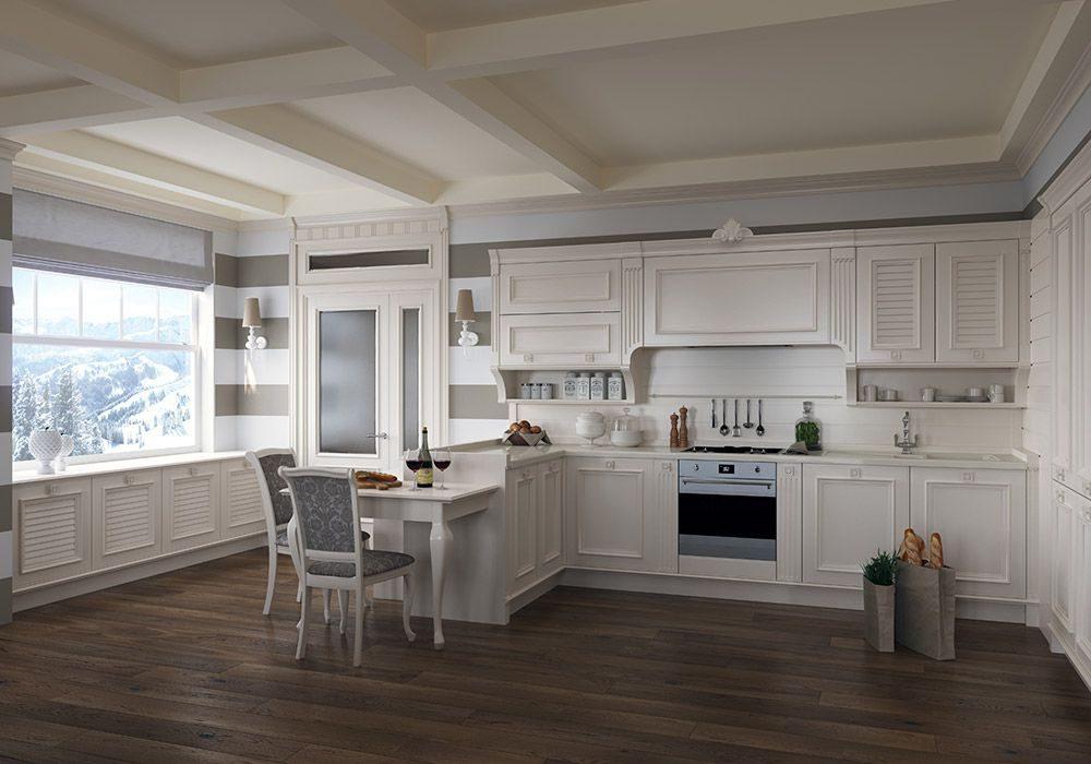 П-образная белая кухня модерн матовая