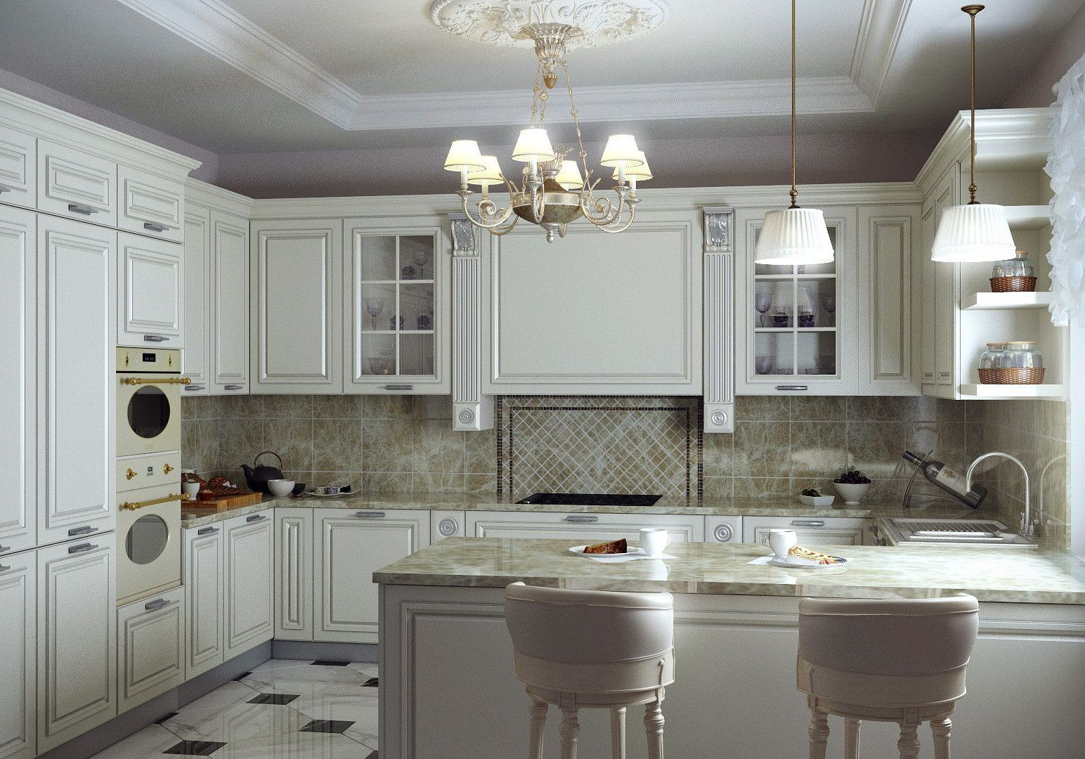 П-образная белая кухня под окно с барной стойкой, классика