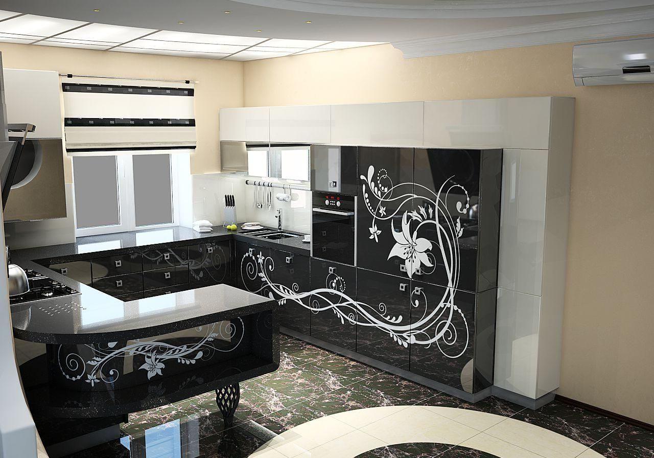 П-образная глянцевая черно-белая кухня под окно с барной стойкой, с рисунком