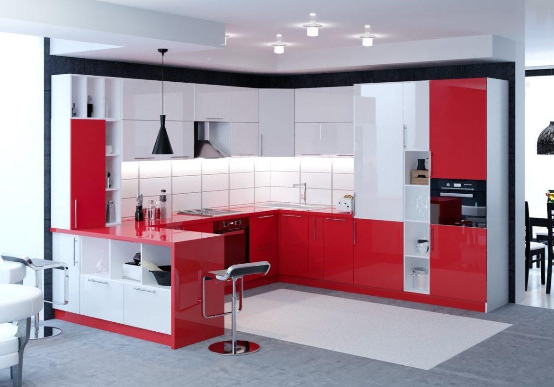 П-образная красно-белая кухня глянецс барной стойкой