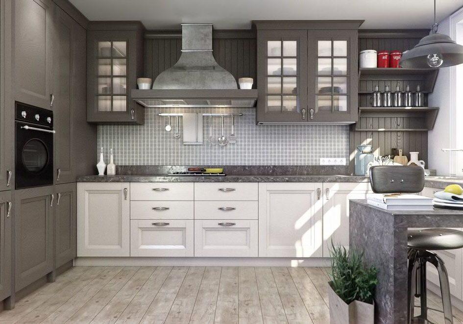 П-образная кухня серо-белая, под окно с барной стойкой, модерн