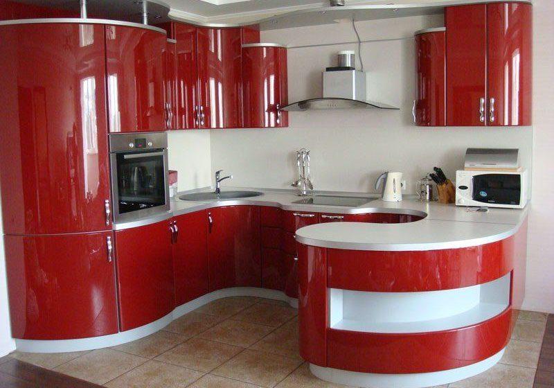 п-образная полукруглая кухня красно-белого цвета с барной стойкой, хай тек, глянец