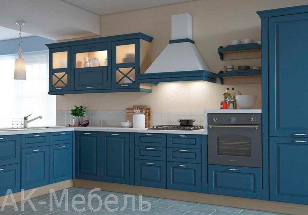 Угловая синяя кухня МДФ эмаль матовая, модерн, прованс