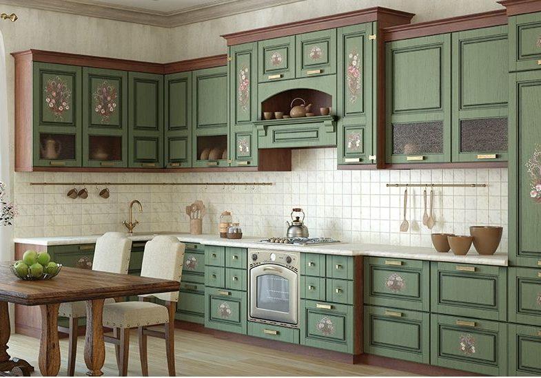 Большая угловая зеленая кухня классического стиля