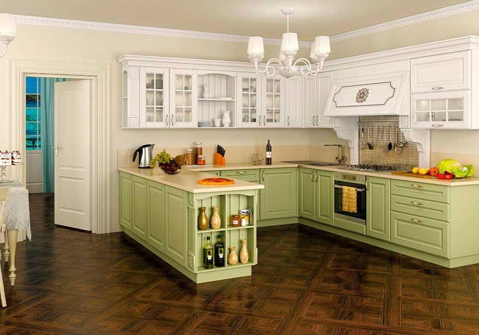 Постельный тон для кухни с фасадами массив