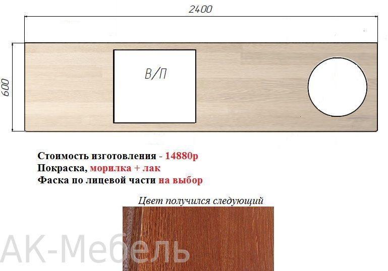 Пример расчёта прямой столешницы из дерева