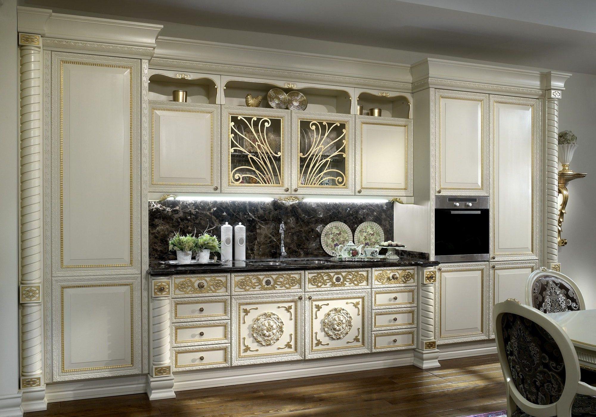 Прямая белая кухня барокко, классика
