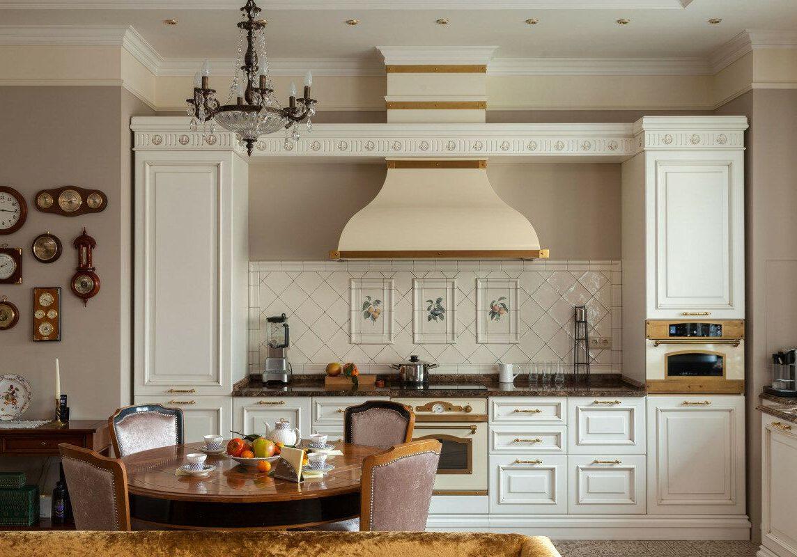 Прямая белая кухня модерн, классика, матовая, фрезерованный МДФ