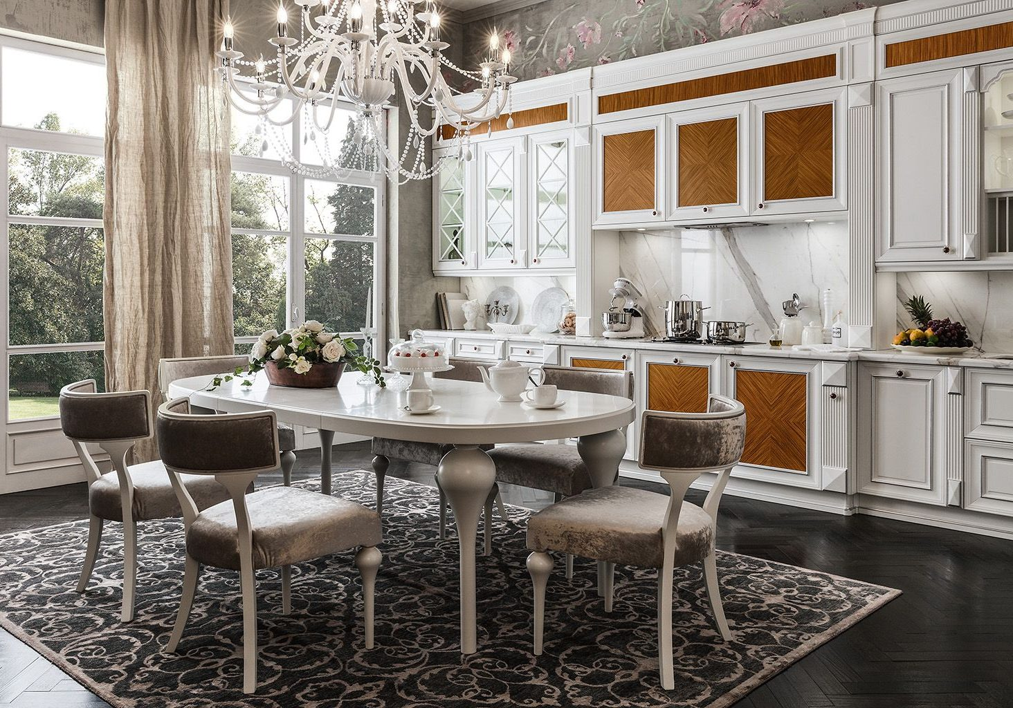 Прямая белая кухня модерн с деревом шпон