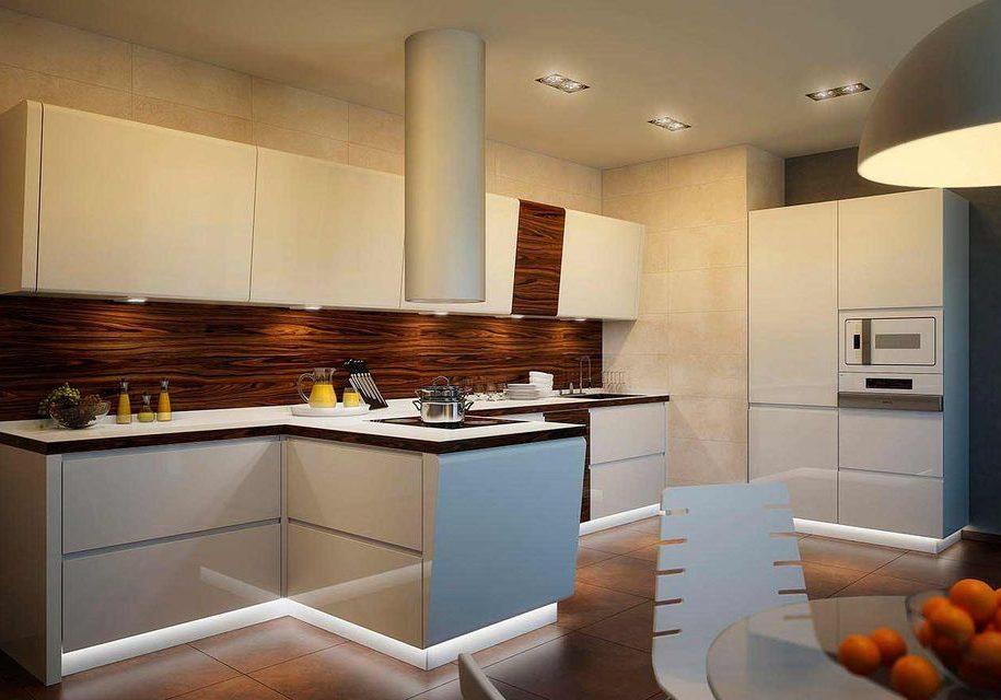 Прямая белая кухня с деревом, с островом, хай-тек, модерн