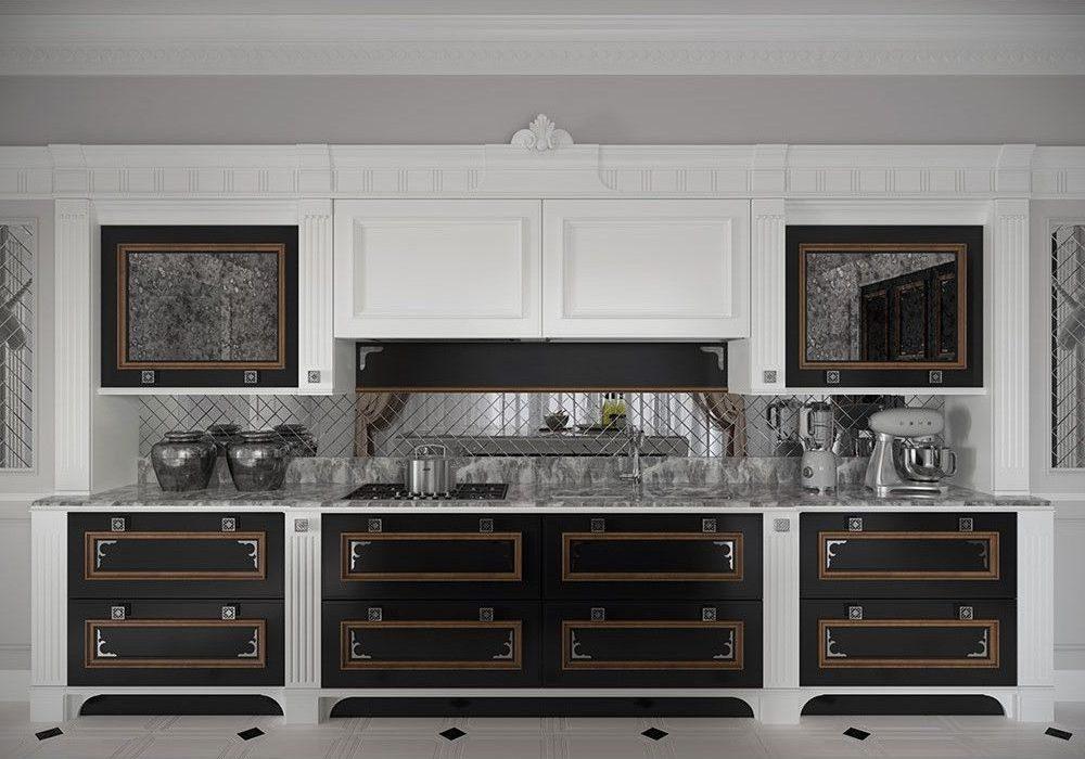 Прямая бело-черная кухня с патиной, классика, модерн, хай-тек