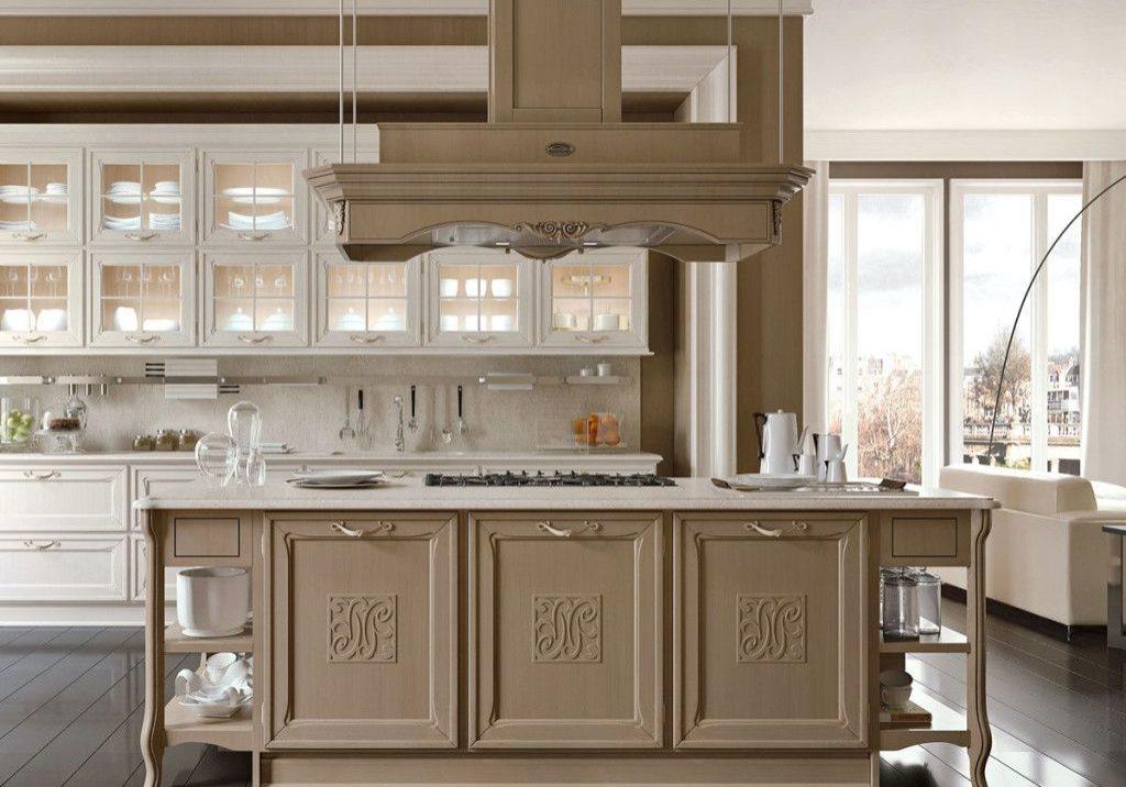 Прямая бело-коричневая матовая кухня с островом, модерн