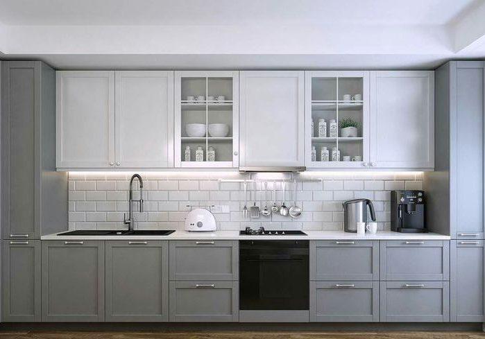 Прямая бело-серая кухня модерн, матовая МДФ