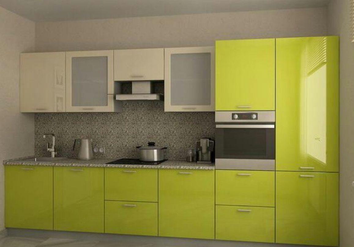 Прямая бежево-зеленая кухня с фасадами МДФ эмаль, пленка, глянец
