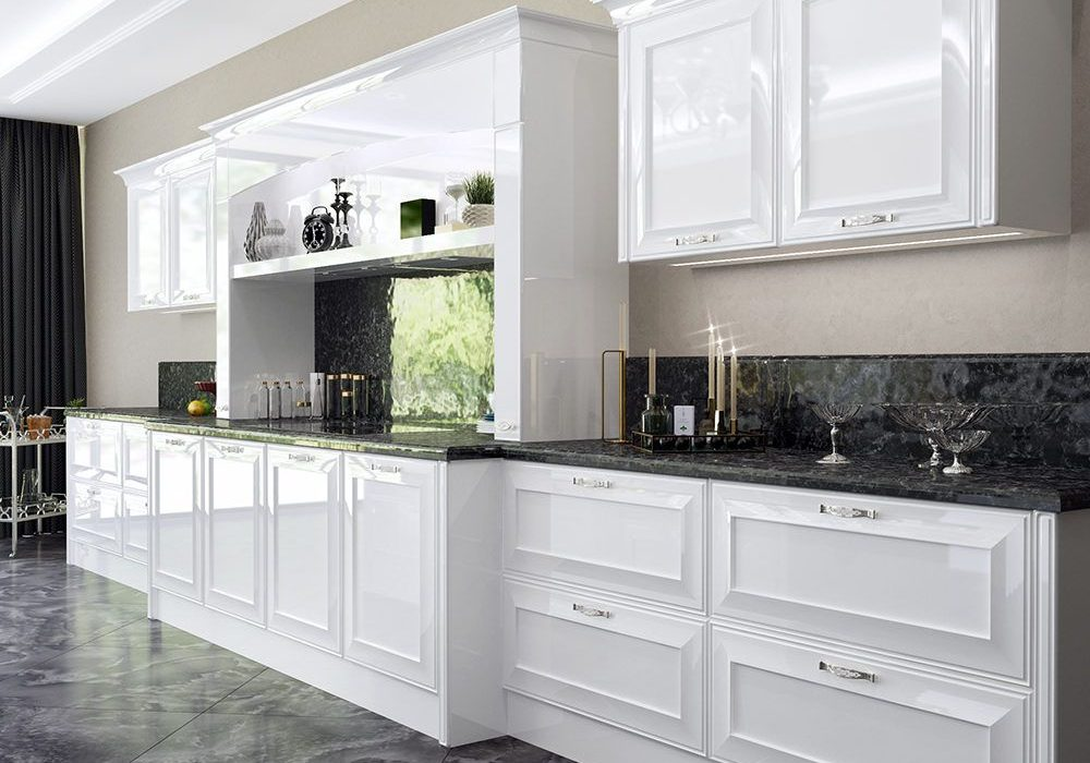 Прямая глянцевая кухня белая модерн, хай-тек