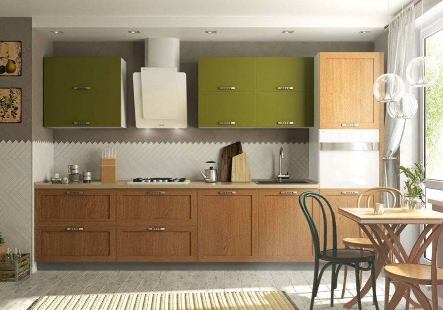 Прямая коричнево-зеленая кухня МДФ эмаль, МДФ шпон