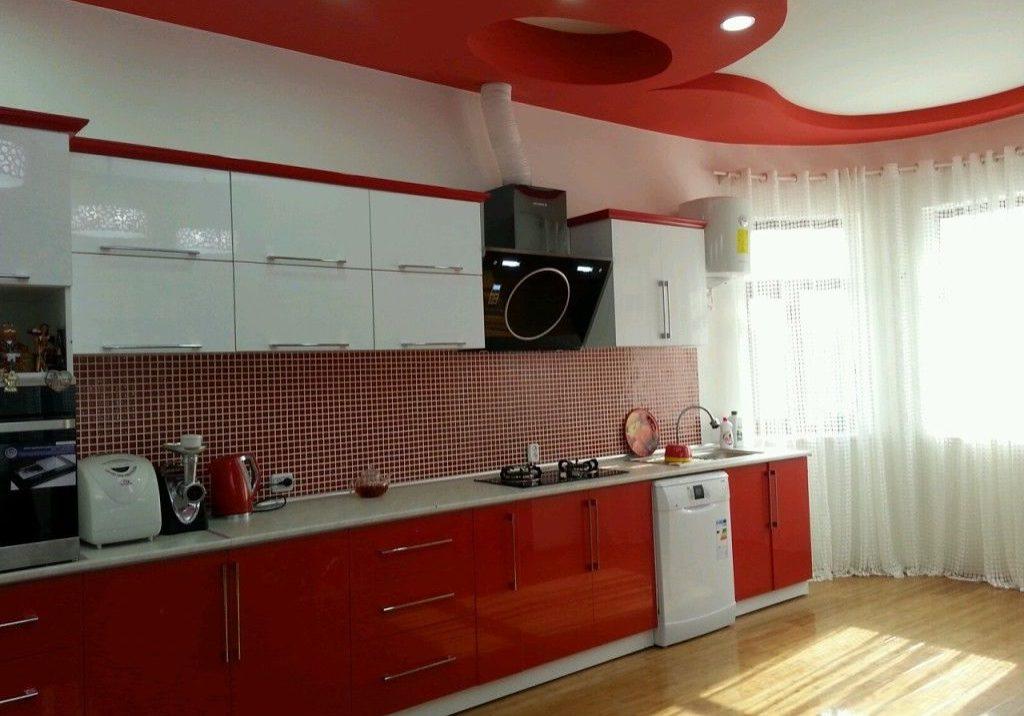 Прямая красно-белая кухня МДФ пленка глянец