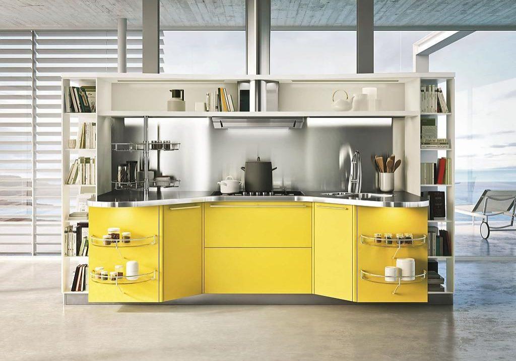 Прямая кухня хай-тек желто-белого цвета