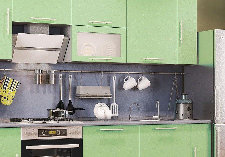 Прямая кухня МДФ пленка зеленого цвета