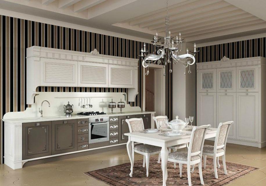 Прямая кухня модерн, бело-коричневая, хайтек