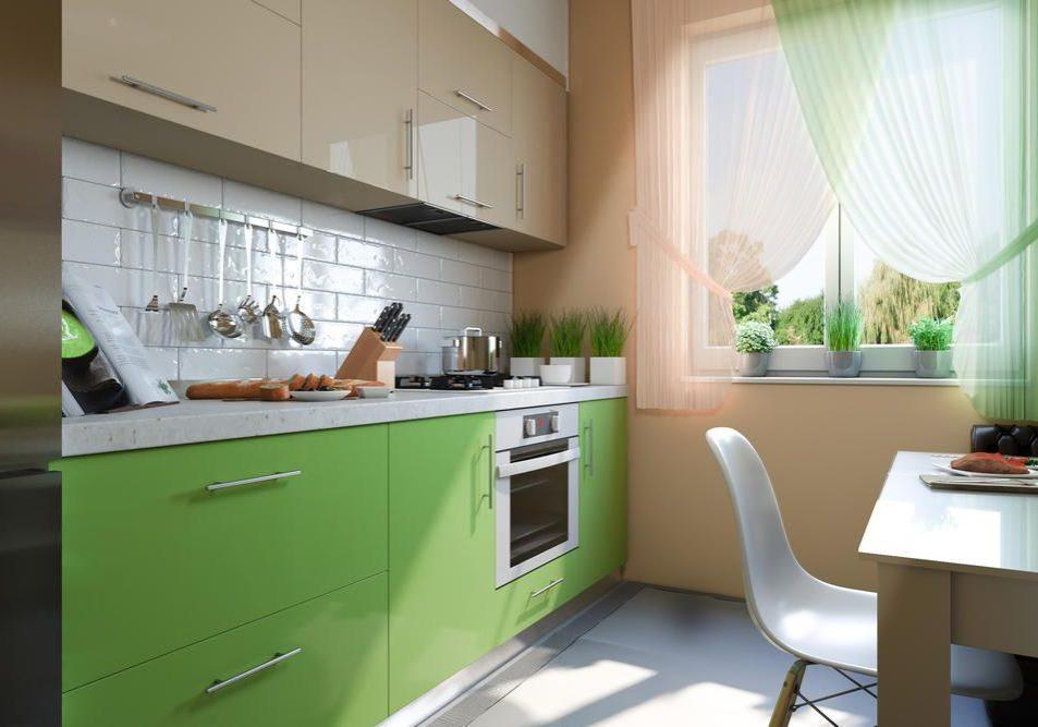 Прямая маленькая бежево-зеленая кухня МДФ эмаль