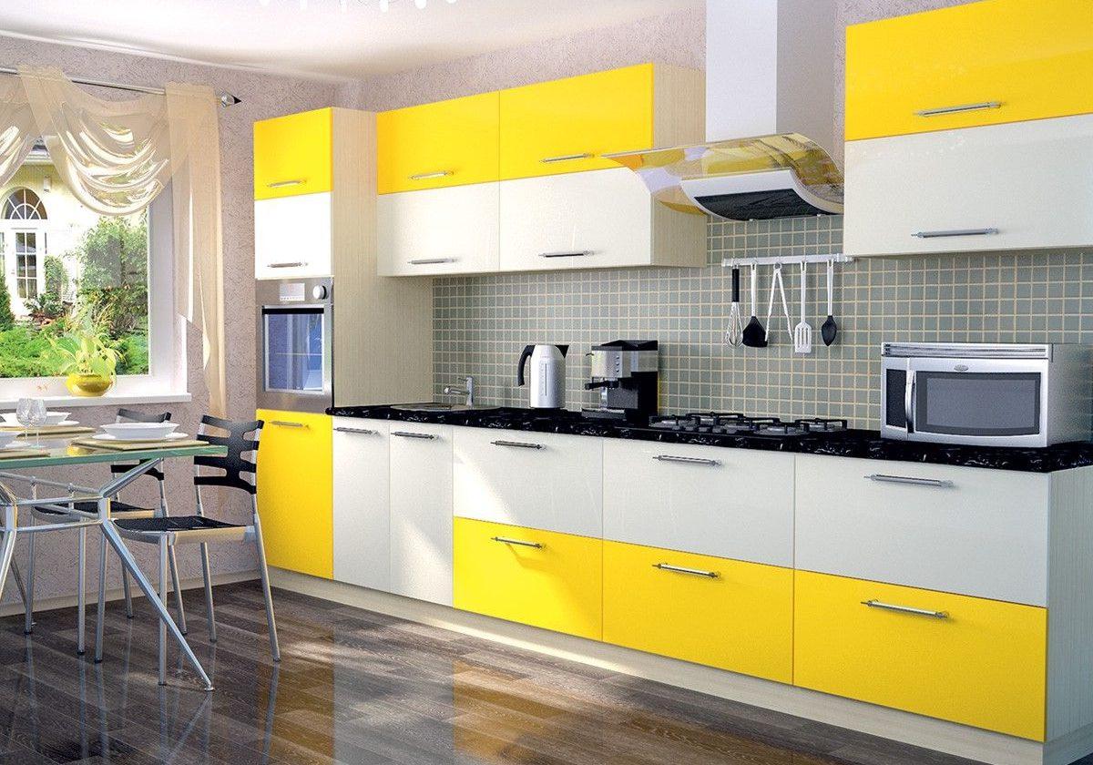 Прямая матовая бело-желтая кухня пленка