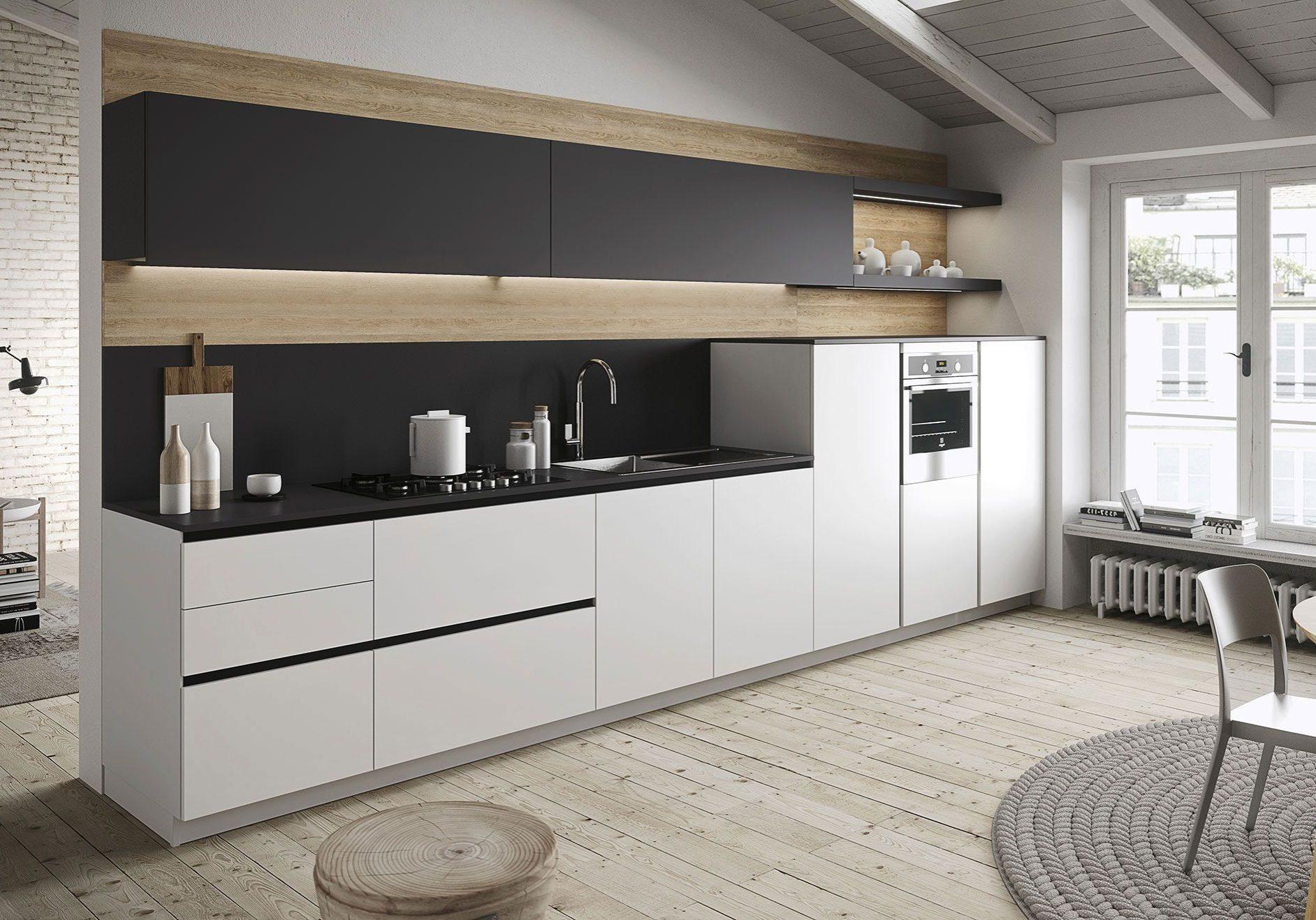 Прямая серо-белая кухня, матовая с деревом