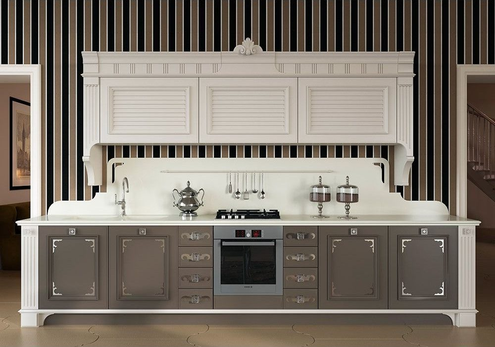 Прямая серо-белая кухня, модерн, хайтек, дорогая