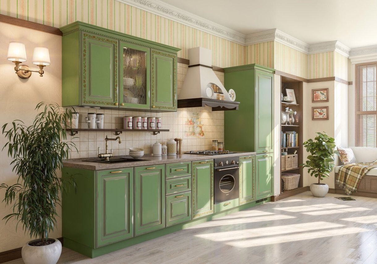 Прямая зеленая кухня модерн с рисунком